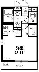 リブリ・Crest Yanagisaki 2階ワンルームの間取り