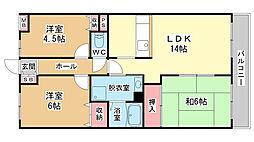 ベルメゾン道明寺[4階]の間取り