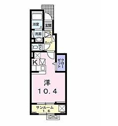 バーミィ・フィオーレ 1階ワンルームの間取り