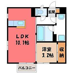 ルアーナ 2階1SKの間取り
