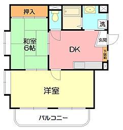 神奈川県平塚市東中原2丁目の賃貸マンションの間取り