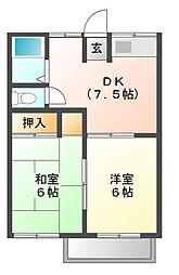 ユトリロ本野町B[2階]の間取り