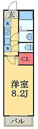 JR総武線 津田沼駅 徒歩14分の賃貸アパート 2階1Kの間取り