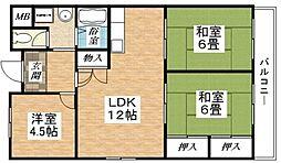 Osaka Metro谷町線 長原駅 徒歩9分の賃貸マンション 5階3LDKの間取り