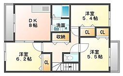 愛知県豊橋市川崎町の賃貸アパートの間取り