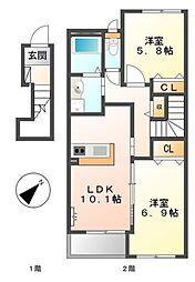 愛知県豊橋市下地町字天神の賃貸アパートの間取り