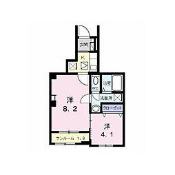 つくばエクスプレス 南流山駅 徒歩13分の賃貸アパート 1階1LDKの間取り