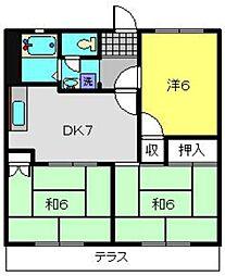 神奈川県横浜市瀬谷区相沢2の賃貸アパートの間取り