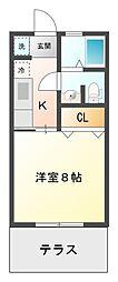 愛知県豊田市沢田町小原道の賃貸アパートの間取り