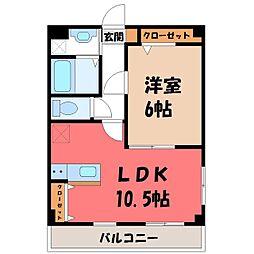 栃木県宇都宮市平出町の賃貸マンションの間取り
