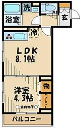 (仮)D-room府中町1丁目 1階1LDKの間取り