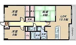 大阪府堺市堺区栄橋町2丁の賃貸マンションの間取り