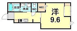 JR福知山線 北伊丹駅 徒歩14分の賃貸アパート 1階1Kの間取り