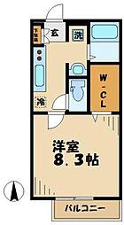 小田急多摩線 はるひ野駅 徒歩5分の賃貸アパート 2階1Kの間取り