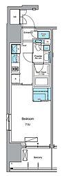JR山手線 上野駅 徒歩13分の賃貸マンション 11階1Kの間取り