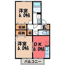 栃木県小山市神鳥谷5丁目の賃貸アパートの間取り