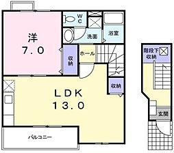 愛知県豊橋市大崎町字安平の賃貸アパートの間取り