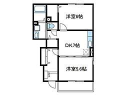 神奈川県綾瀬市早川城山3丁目の賃貸アパートの間取り