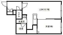ハレービュー東札幌[2階]の間取り