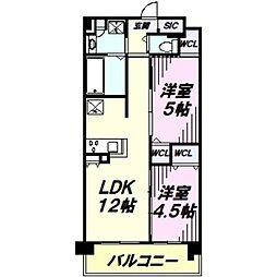 JR中央線 立川駅 徒歩28分の賃貸マンション 2階2LDKの間取り
