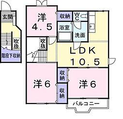クオーター・レジデンス B[2階]の間取り