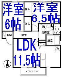 栃木県小山市犬塚5の賃貸アパートの間取り