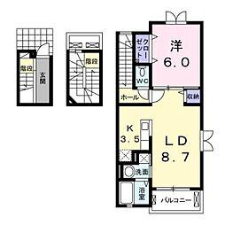 静岡県静岡市葵区瀬名3丁目の賃貸アパートの間取り