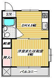 サンハイツ浜崎[101号室]の間取り