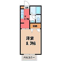 栃木県宇都宮市弥生1丁目の賃貸アパートの間取り
