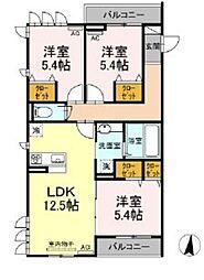 西武池袋線 大泉学園駅 徒歩19分の賃貸アパート 2階3LDKの間取り