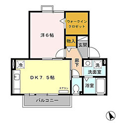 愛知県豊橋市牟呂外神町の賃貸アパートの間取り