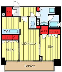 ORME COURT NIPPORI EAST 11階2LDKの間取り