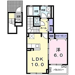 グランディール 2階1LDKの間取り