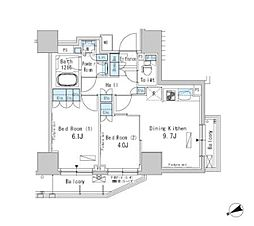 JR総武線 浅草橋駅 徒歩4分の賃貸マンション 2階2DKの間取り