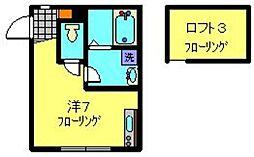 ベリッシマ 1階ワンルームの間取り
