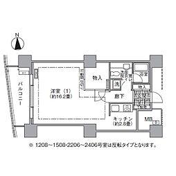 JR山手線 浜松町駅 徒歩3分の賃貸マンション 13階1Kの間取り