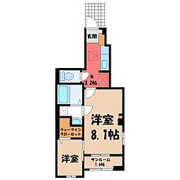 JR東北本線 宇都宮駅 バス15分 中戸祭下車 徒歩4分の賃貸アパート 1階ワンルームの間取り