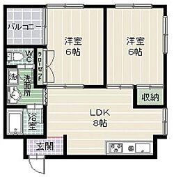 サザンコート西新[8階]の間取り