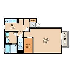 滋賀県野洲市行畑の賃貸アパートの間取り