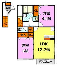 茨城県桜川市真壁町飯塚の賃貸アパートの間取り