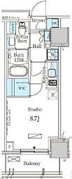 東武東上線 下赤塚駅 徒歩1分の賃貸マンション 6階ワンルームの間取り