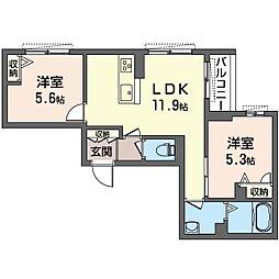 仮)八王子市子安町2丁目シャーメゾン 2階2LDKの間取り