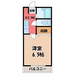 栃木県宇都宮市山本2丁目の賃貸アパートの間取り