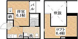 Osaka Metro千日前線 南巽駅 徒歩9分の賃貸アパート 1階1Kの間取り