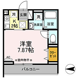Confort yuuya 3階1Kの間取り