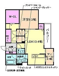 大阪府吹田市原町2丁目の賃貸マンションの間取り
