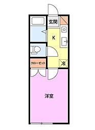 JR白新線 西新発田駅 徒歩30分の賃貸アパート 2階1Kの間取り
