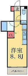JR総武線 船橋駅 徒歩12分の賃貸マンション 1階ワンルームの間取り