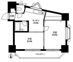 パークハイム駒沢[703号室]の間取り