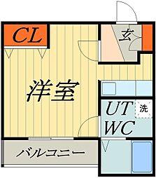 東武伊勢崎線 谷塚駅 徒歩9分の賃貸マンション 3階ワンルームの間取り